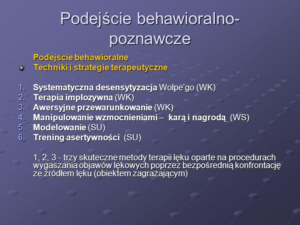 Podejście behawioralno- poznawcze Podejście behawioralne Techniki i strategie terapeutyczne 1.Systematyczna desensytyzacja Wolpe'go (WK) 2.Terapia implozywna (WK) 3.Awersyjne przewarunkowanie (WK) 4.Manipulowanie wzmocnieniami – karą i nagrodą (WS) 5.Modelowanie (SU) 6.Trening asertywności (SU) 1, 2, 3 - trzy skuteczne metody terapii lęku oparte na procedurach wygaszania objawów lękowych poprzez bezpośrednią konfrontację ze źródłem lęku (obiektem zagrażającym)