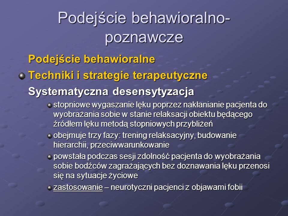Podejście behawioralno- poznawcze Podejście behawioralne Techniki i strategie terapeutyczne Systematyczna desensytyzacja stopniowe wygaszanie lęku pop
