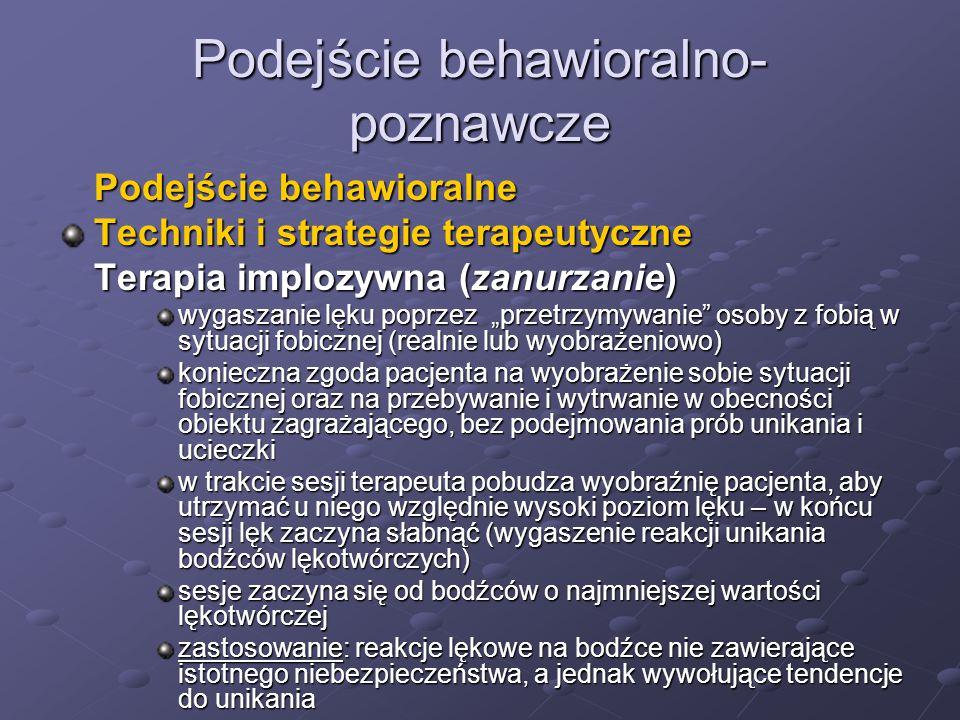 """Podejście behawioralno- poznawcze Podejście behawioralne Techniki i strategie terapeutyczne Terapia implozywna (zanurzanie) wygaszanie lęku poprzez """"p"""
