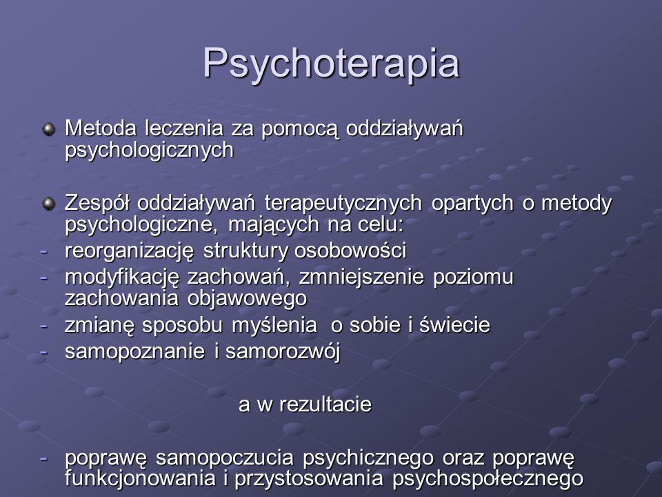 Psychoterapia Metoda leczenia za pomocą oddziaływań psychologicznych Zespół oddziaływań terapeutycznych opartych o metody psychologiczne, mających na
