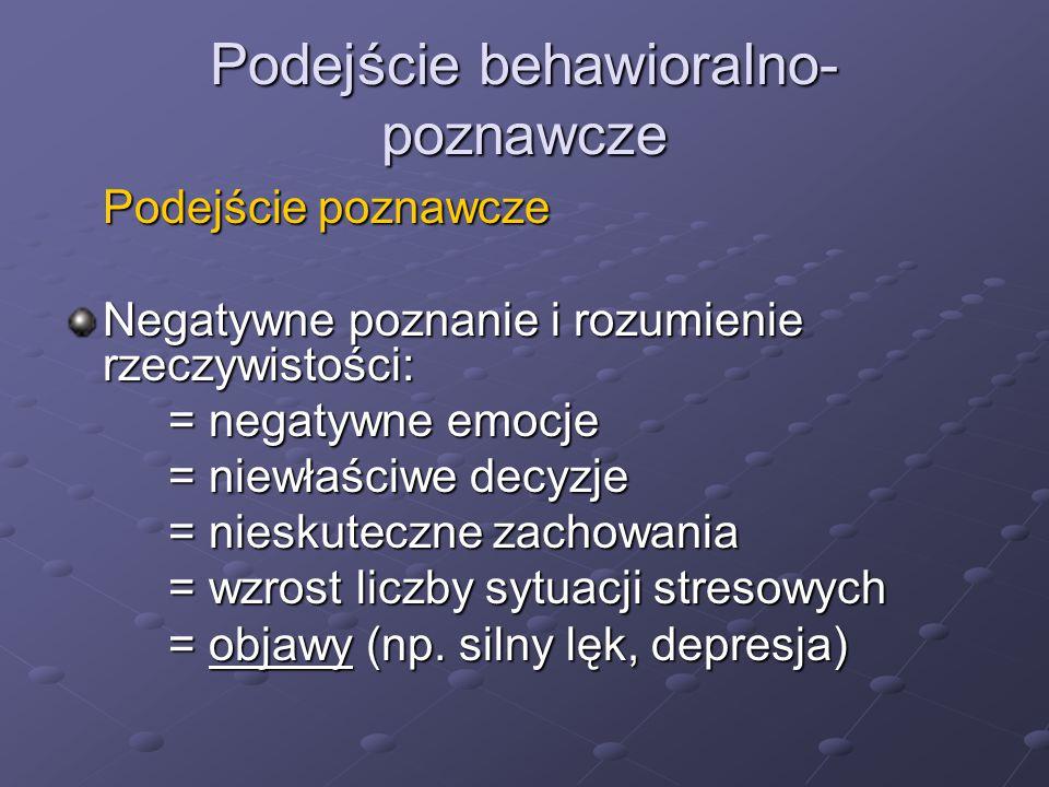 Podejście behawioralno- poznawcze Podejście poznawcze Negatywne poznanie i rozumienie rzeczywistości: = negatywne emocje = niewłaściwe decyzje = niesk