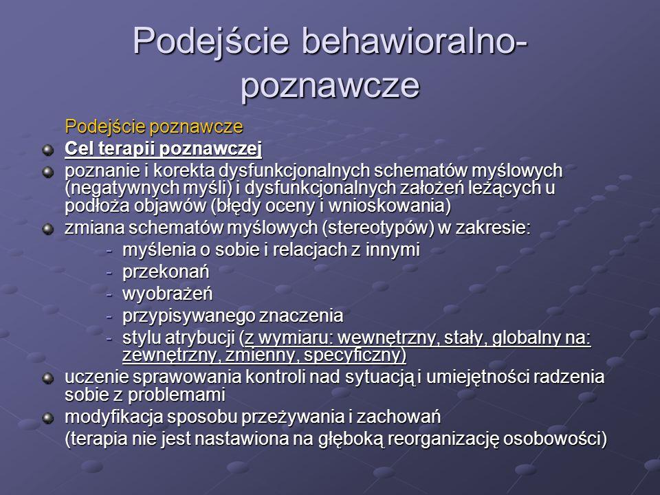 Podejście behawioralno- poznawcze Podejście poznawcze Cel terapii poznawczej poznanie i korekta dysfunkcjonalnych schematów myślowych (negatywnych myś