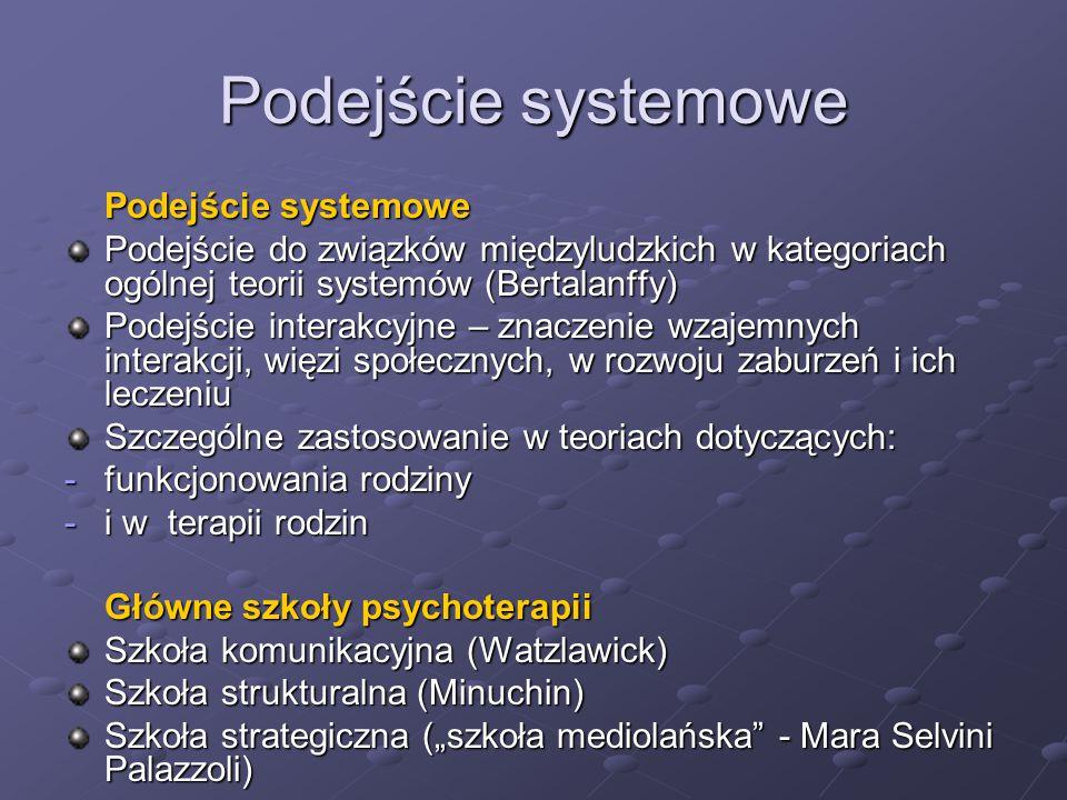Podejście systemowe Podejście do związków międzyludzkich w kategoriach ogólnej teorii systemów (Bertalanffy) Podejście interakcyjne – znaczenie wzajem