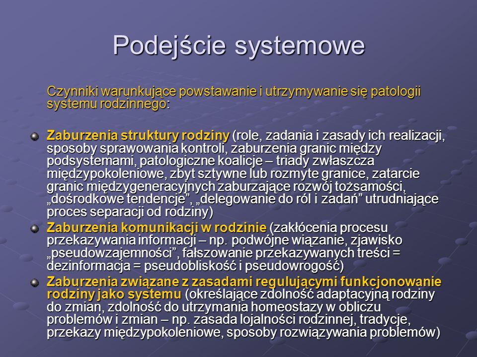 Podejście systemowe Czynniki warunkujące powstawanie i utrzymywanie się patologii systemu rodzinnego: Zaburzenia struktury rodziny (role, zadania i za