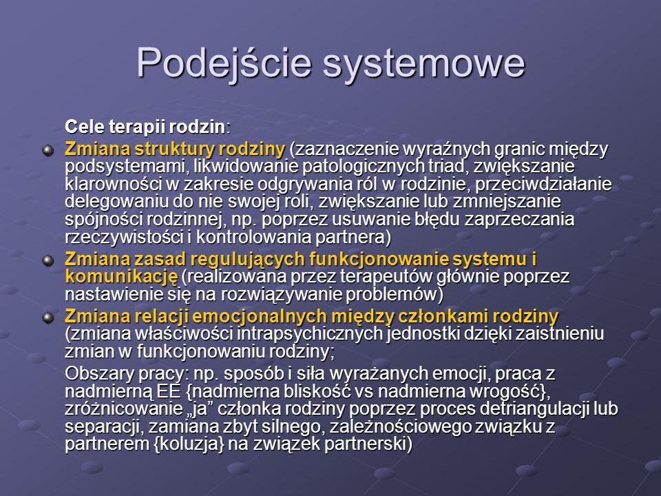 Podejście systemowe Cele terapii rodzin: Zmiana struktury rodziny (zaznaczenie wyraźnych granic między podsystemami, likwidowanie patologicznych triad
