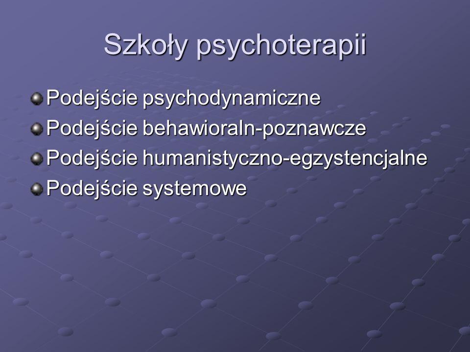 """Podejście behawioralno- poznawcze Podejście behawioralne Techniki i strategie terapeutyczne Terapia implozywna (zanurzanie) wygaszanie lęku poprzez """"przetrzymywanie osoby z fobią w sytuacji fobicznej (realnie lub wyobrażeniowo) konieczna zgoda pacjenta na wyobrażenie sobie sytuacji fobicznej oraz na przebywanie i wytrwanie w obecności obiektu zagrażającego, bez podejmowania prób unikania i ucieczki w trakcie sesji terapeuta pobudza wyobraźnię pacjenta, aby utrzymać u niego względnie wysoki poziom lęku – w końcu sesji lęk zaczyna słabnąć (wygaszenie reakcji unikania bodźców lękotwórczych) sesje zaczyna się od bodźców o najmniejszej wartości lękotwórczej zastosowanie: reakcje lękowe na bodźce nie zawierające istotnego niebezpieczeństwa, a jednak wywołujące tendencje do unikania"""