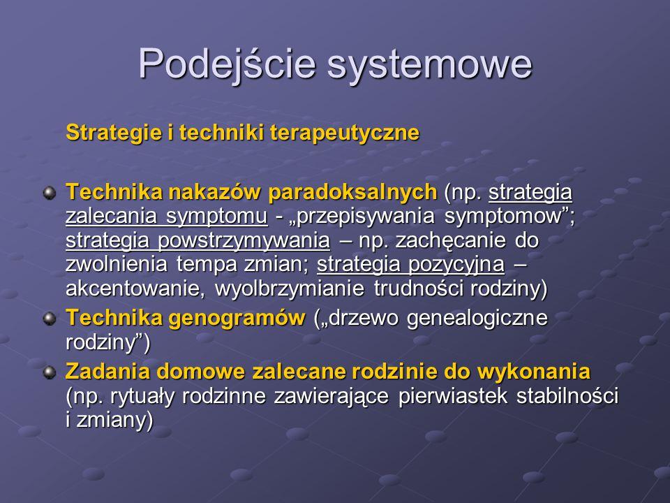 """Podejście systemowe Strategie i techniki terapeutyczne Technika nakazów paradoksalnych (np. strategia zalecania symptomu - """"przepisywania symptomow"""";"""