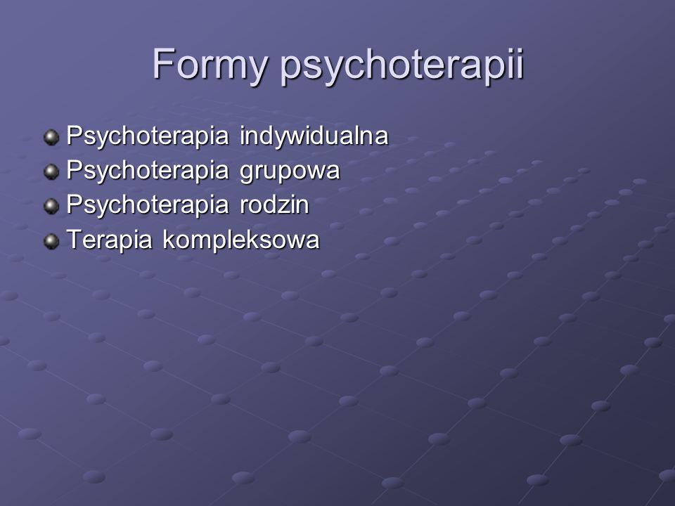 Formy psychoterapii Psychoterapia indywidualna Psychoterapia grupowa Psychoterapia rodzin Terapia kompleksowa