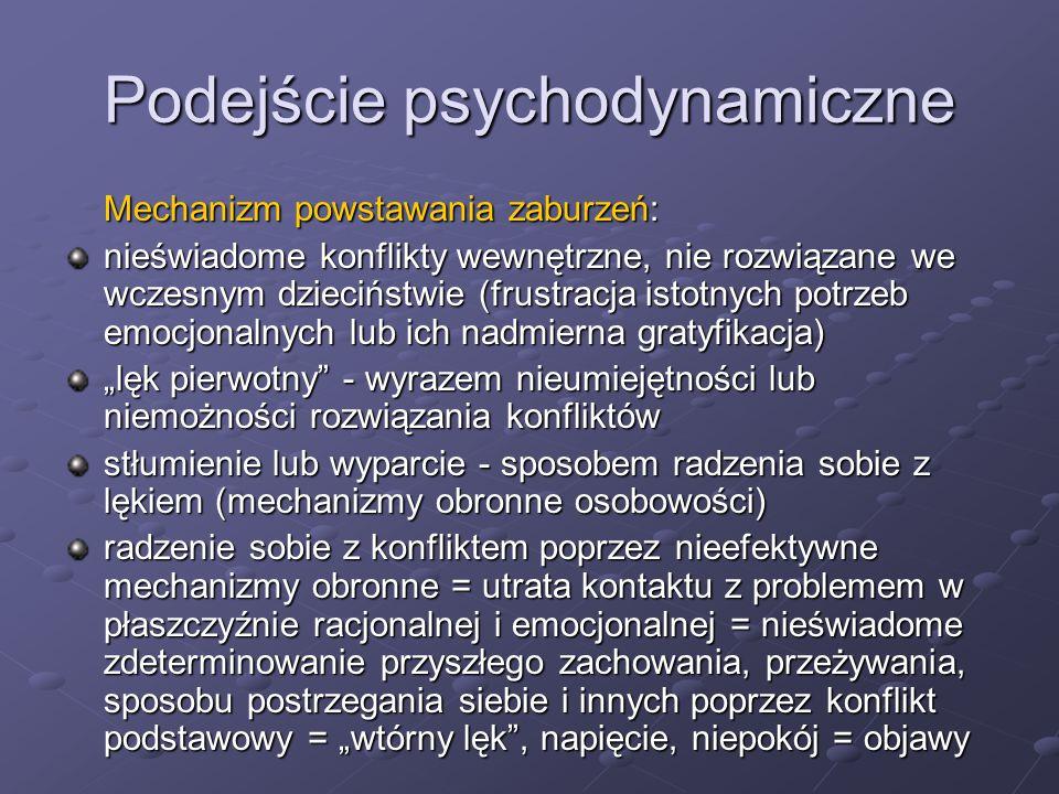 """Podejście psychodynamiczne Cele terapii: Zmiana zaburzeń przeżywania jednostki, restrukturalizacja i reintegracja osobowości poprzez koncentrację na zjawiskach intrapsychicznych (psychoterapia głęboka) -wgląd - doprowadzenie do świadomości negatywnych doświadczeń z przeszłości (""""wczesnodziecięcych ), uświadomienie sobie (tj."""
