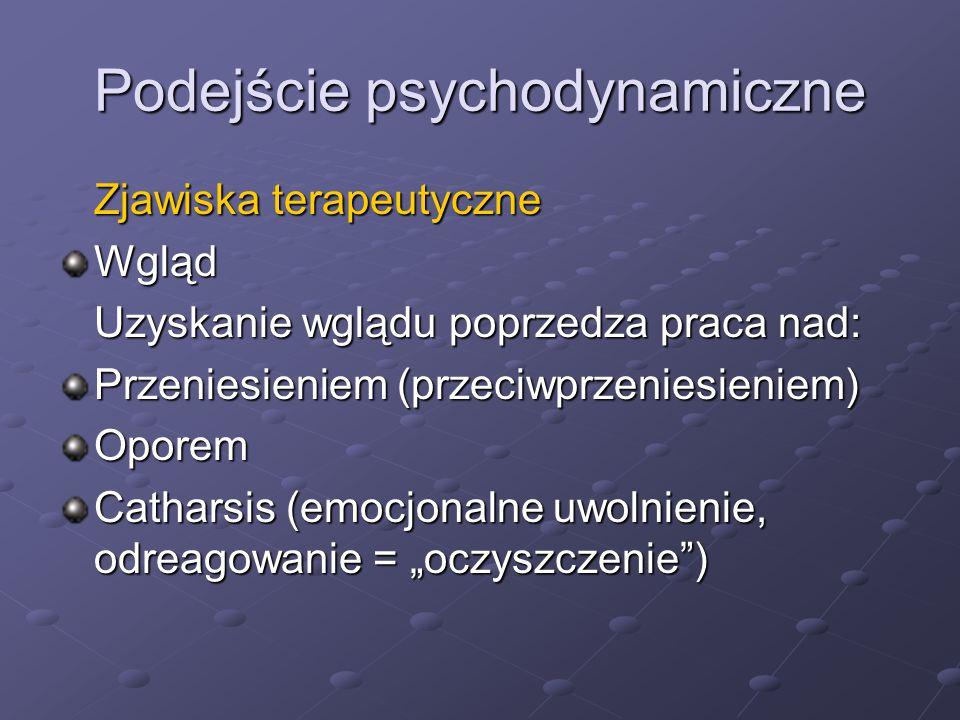 Podejście psychodynamiczne Zjawiska terapeutyczne Wgląd Uzyskanie wglądu poprzedza praca nad: Przeniesieniem (przeciwprzeniesieniem) Oporem Catharsis