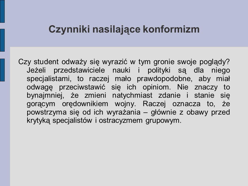 Czynniki nasilające konformizm Czy student odważy się wyrazić w tym gronie swoje poglądy.
