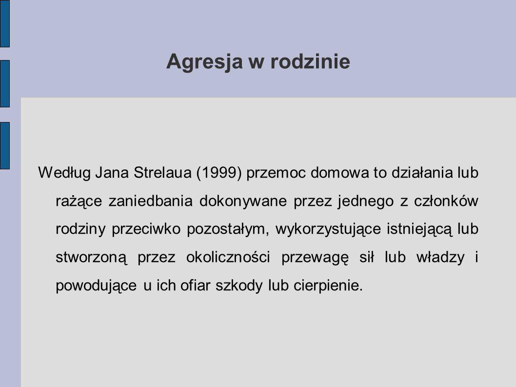 Agresja w rodzinie Według Jana Strelaua (1999) przemoc domowa to działania lub rażące zaniedbania dokonywane przez jednego z członków rodziny przeciwko pozostałym, wykorzystujące istniejącą lub stworzoną przez okoliczności przewagę sił lub władzy i powodujące u ich ofiar szkody lub cierpienie.