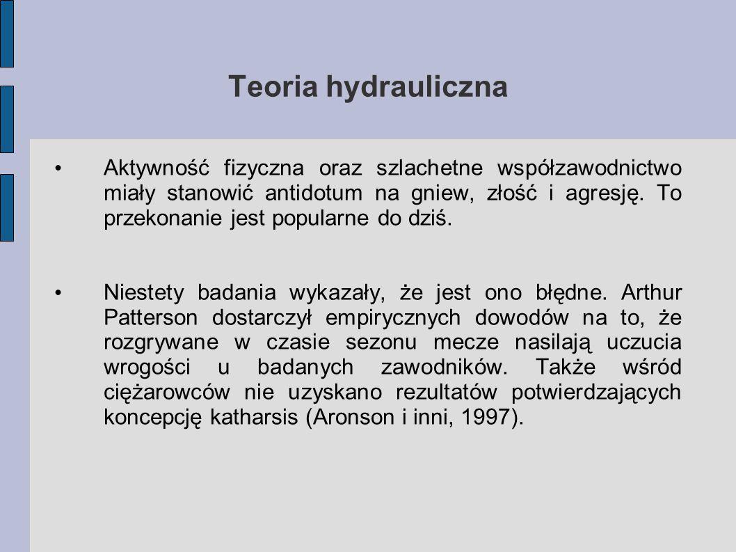 Teoria hydrauliczna Aktywność fizyczna oraz szlachetne współzawodnictwo miały stanowić antidotum na gniew, złość i agresję.