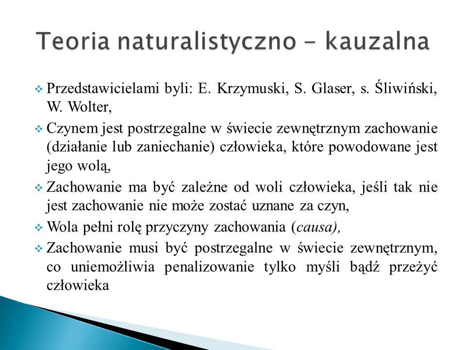  Przedstawicielami byli: E. Krzymuski, S. Glaser, s. Śliwiński, W. Wolter,  Czynem jest postrzegalne w świecie zewnętrznym zachowanie (działanie lub