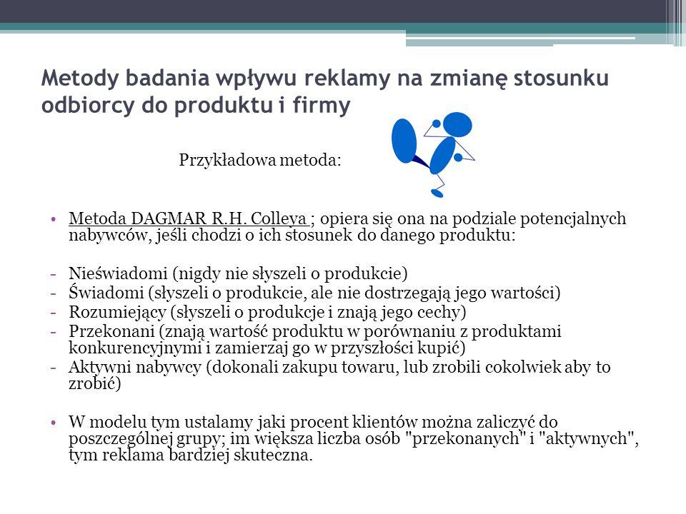 Metody badania wpływu reklamy na zmianę stosunku odbiorcy do produktu i firmy Przykładowa metoda: Metoda DAGMAR R.H. Colleya ; opiera się ona na podzi