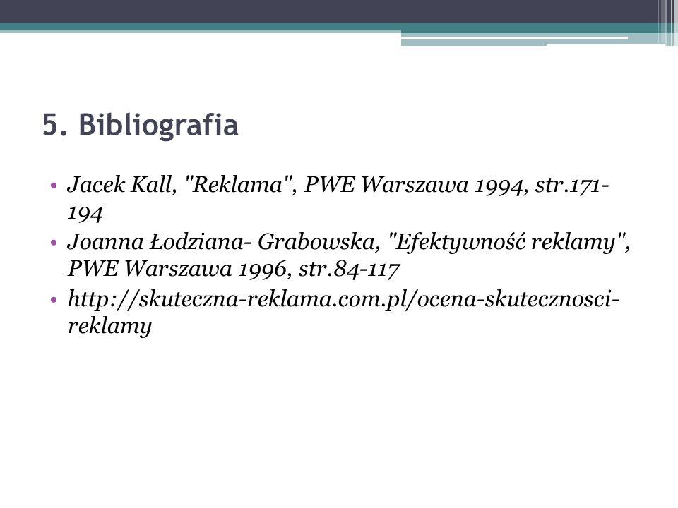 5. Bibliografia Jacek Kall,