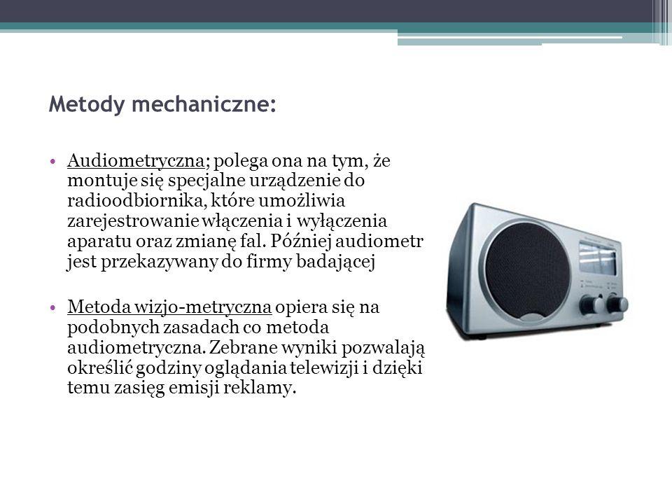Metody mechaniczne: Audiometryczna; polega ona na tym, że montuje się specjalne urządzenie do radioodbiornika, które umożliwia zarejestrowanie włączen