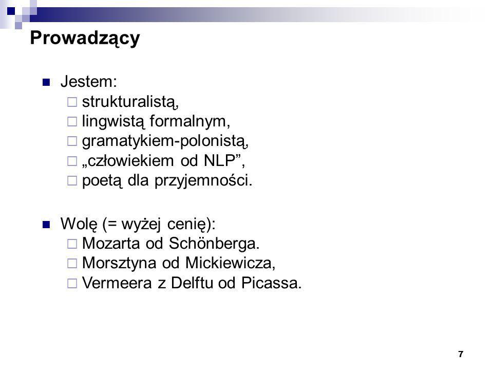 """7 Prowadzący Jestem:  strukturalistą,  lingwistą formalnym,  gramatykiem-polonistą,  """"człowiekiem od NLP"""",  poetą dla przyjemności. Wolę (= wyżej"""