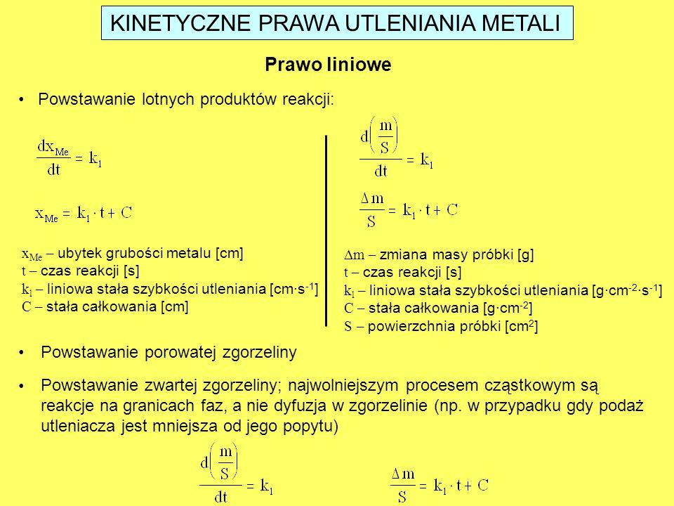 Prawo liniowe Powstawanie lotnych produktów reakcji: x Me – ubytek grubości metalu [cm] t – czas reakcji [s] k l – liniowa stała szybkości utleniania