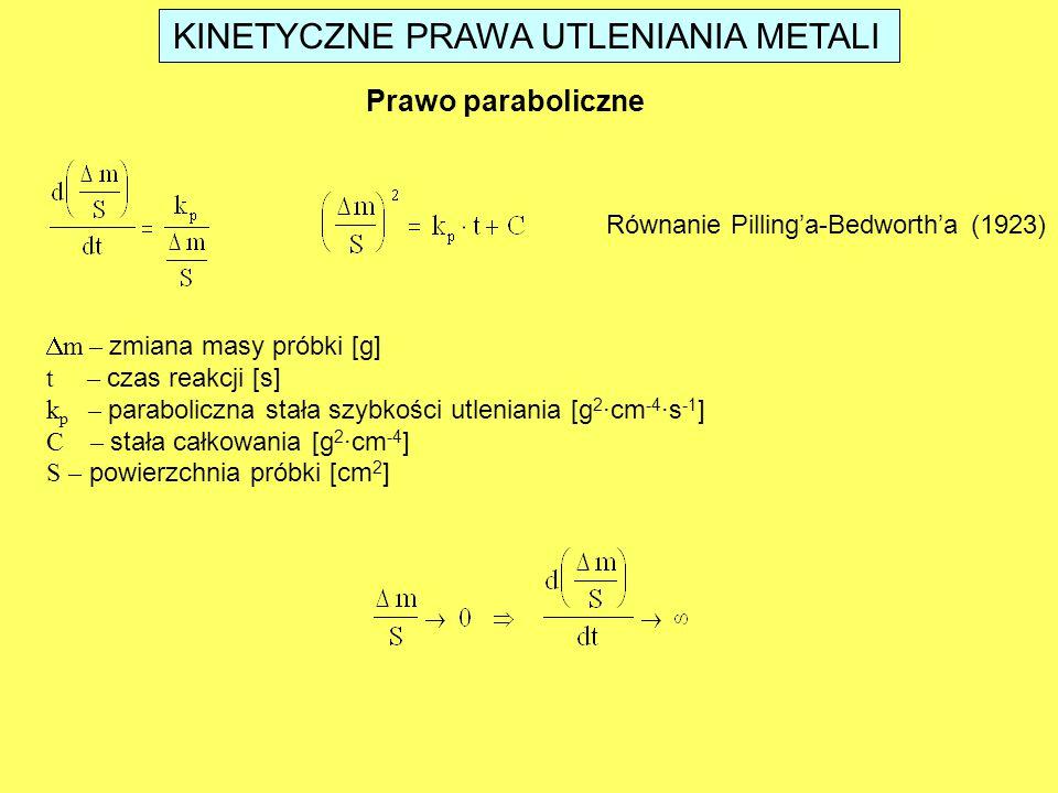 KINETYCZNE PRAWA UTLENIANIA METALI Prawo paraboliczne Równanie Pilling'a-Bedworth'a (1923)  m – zmiana masy próbki [g] t – czas reakcji [s] k p – par