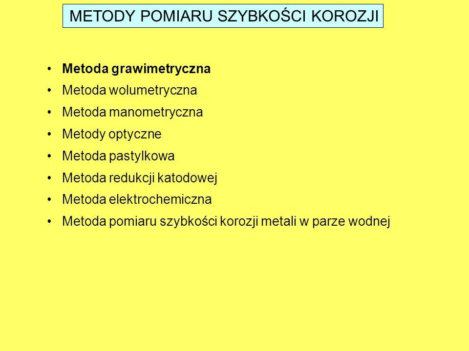 METODY POMIARU SZYBKOŚCI KOROZJI Metoda grawimetryczna Metoda wolumetryczna Metoda manometryczna Metody optyczne Metoda pastylkowa Metoda redukcji kat