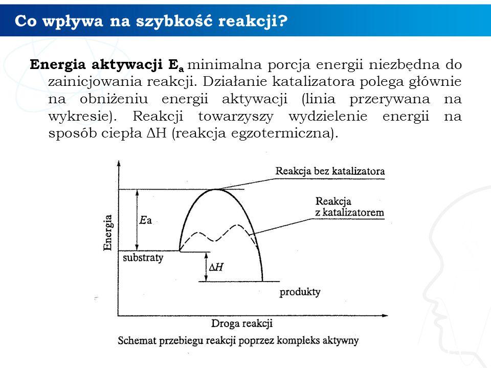 Co wpływa na szybkość reakcji.