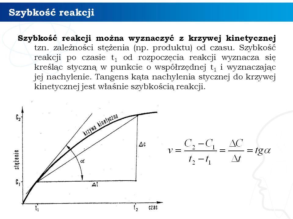 Szybkość reakcji Szybkość reakcji można wyznaczyć z krzywej kinetycznej tzn.