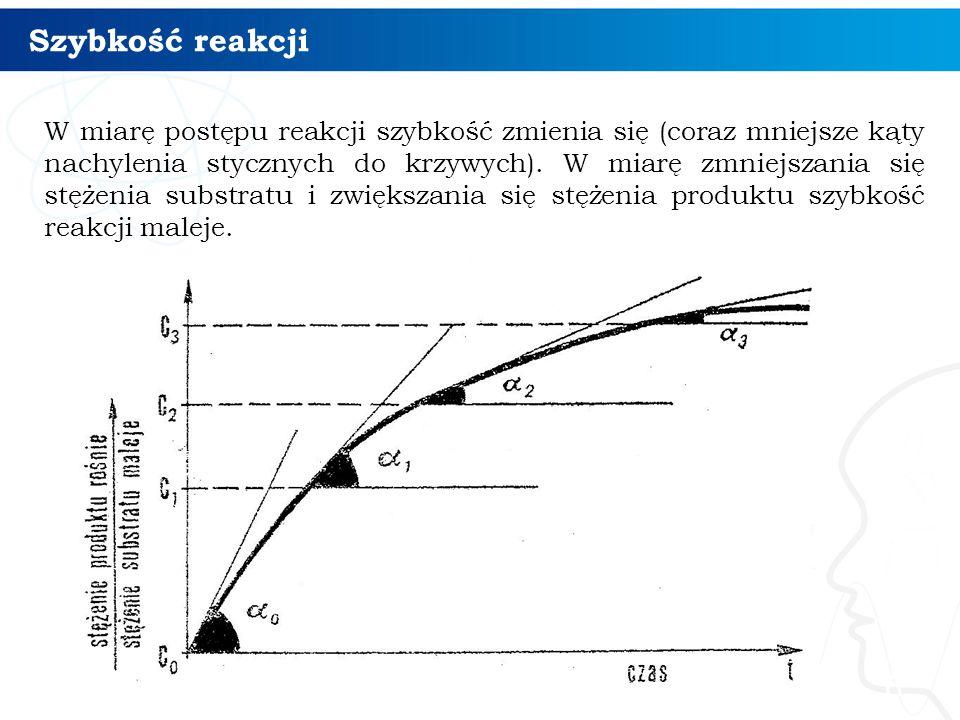 Szybkość reakcji 6 W miarę postępu reakcji szybkość zmienia się (coraz mniejsze kąty nachylenia stycznych do krzywych).