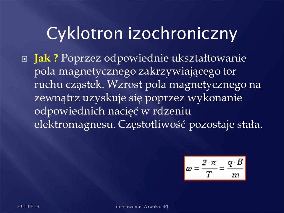 2015-03-28dr Sławomir Wronka, IPJ  Cyklotron izochroniczny - akcelerator z azymutalną modulacją pola. Czas jednego obiegu rozpędzanych cząstek jest s