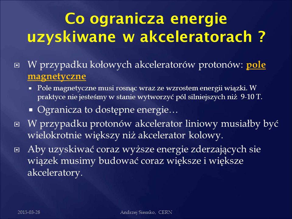 2015-03-28dr Sławomir Wronka, IPJ Dlaczego duże akceleratory ?  Każda cząstka zakrzywiana w polu magnetycznym wypromieniowuje energię – promieniowani