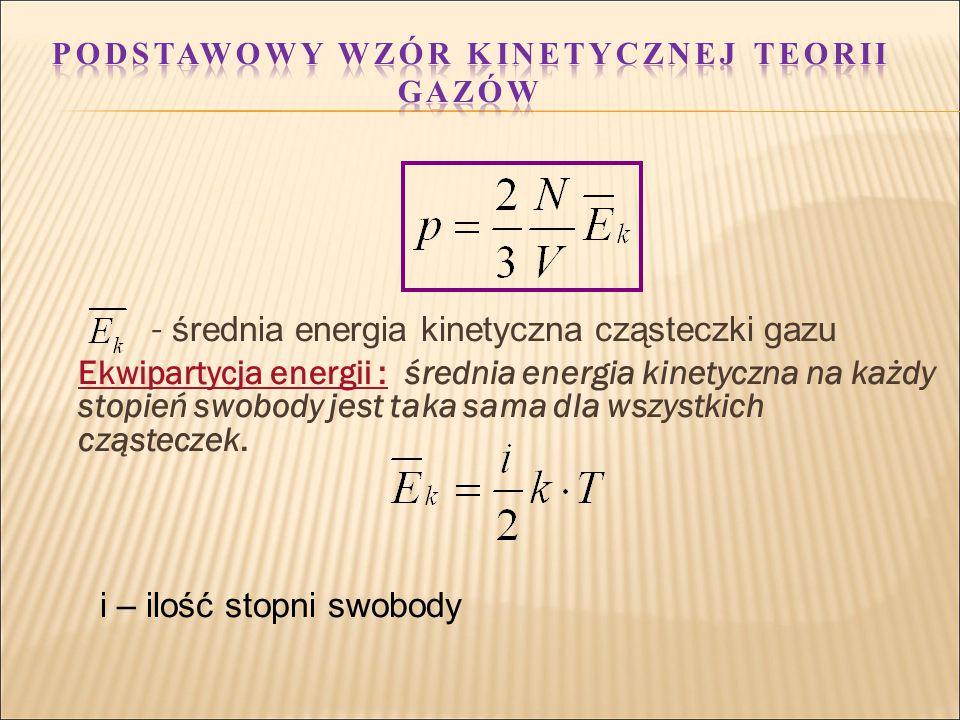 - średnia energia kinetyczna cząsteczki gazu Ekwipartycja energii : średnia energia kinetyczna na każdy stopień swobody jest taka sama dla wszystkich cząsteczek.