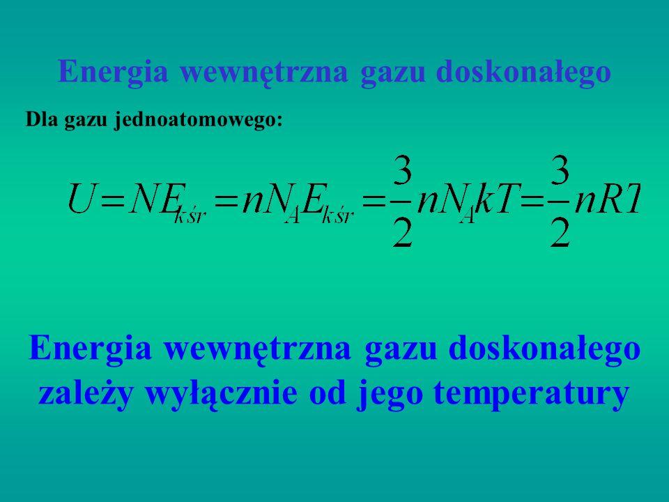 Energia wewnętrzna gazu doskonałego Dla gazu jednoatomowego: Energia wewnętrzna gazu doskonałego zależy wyłącznie od jego temperatury