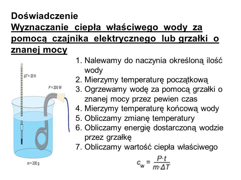 Doświadczenie Wyznaczanie ciepła właściwego wody za pomocą czajnika elektrycznego lub grzałki o znanej mocy 1.Nalewamy do naczynia określoną ilość wod