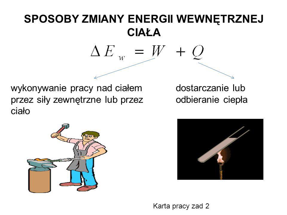SPOSOBY ZMIANY ENERGII WEWNĘTRZNEJ CIAŁA wykonywanie pracy nad ciałem przez siły zewnętrzne lub przez ciało dostarczanie lub odbieranie ciepła Karta p