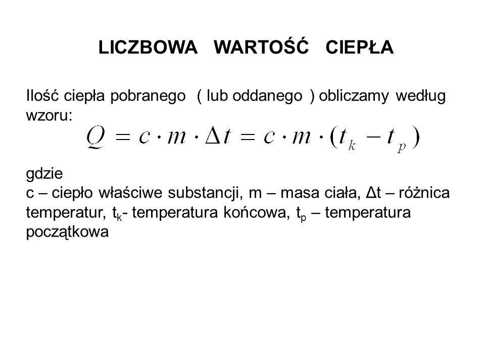 LICZBOWA WARTOŚĆ CIEPŁA Ilość ciepła pobranego ( lub oddanego ) obliczamy według wzoru: gdzie c – ciepło właściwe substancji, m – masa ciała, Δt – róż