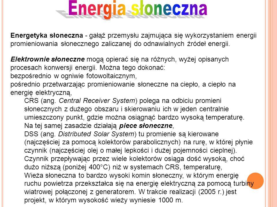 Energetyka słoneczna - gałąź przemysłu zajmująca się wykorzystaniem energii promieniowania słonecznego zaliczanej do odnawialnych źródeł energii. Elek