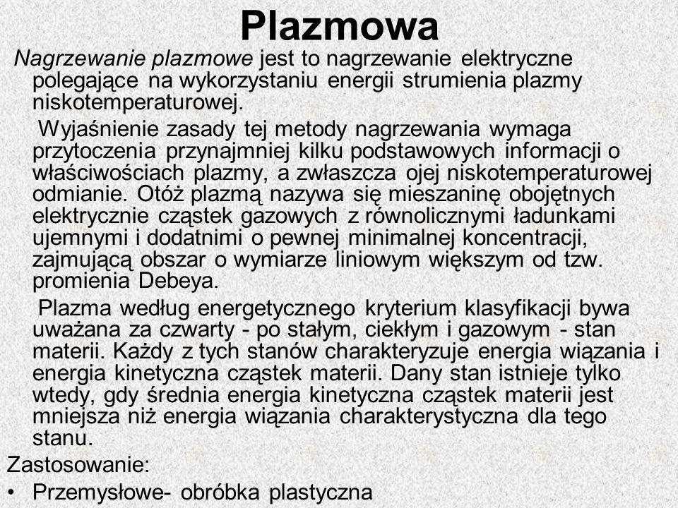 Plazmowa Nagrzewanie plazmowe jest to nagrzewanie elektryczne polegające na wykorzystaniu energii strumienia plazmy niskotemperaturowej. Wyjaśnienie z