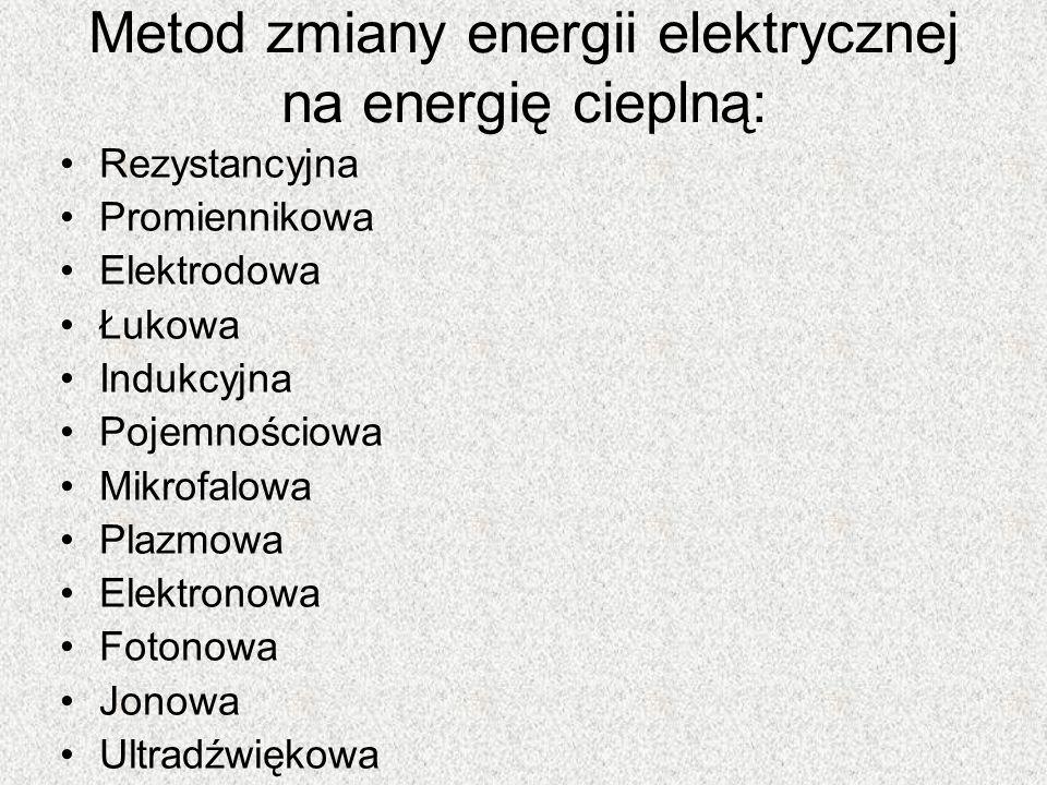 Metod zmiany energii elektrycznej na energię cieplną: Rezystancyjna Promiennikowa Elektrodowa Łukowa Indukcyjna Pojemnościowa Mikrofalowa Plazmowa Ele