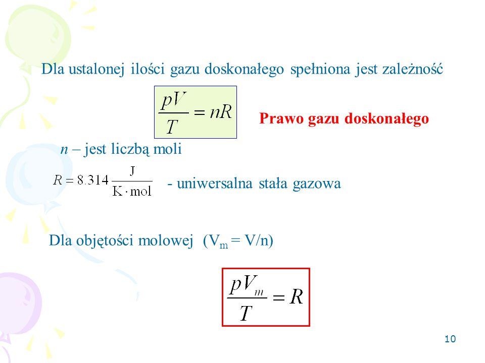 10 Dla ustalonej ilości gazu doskonałego spełniona jest zależność n – jest liczbą moli - uniwersalna stała gazowa Prawo gazu doskonałego Dla objętości