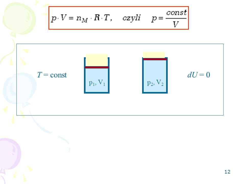 12 T = constdU = 0 p 1, V 1 p 2, V 2
