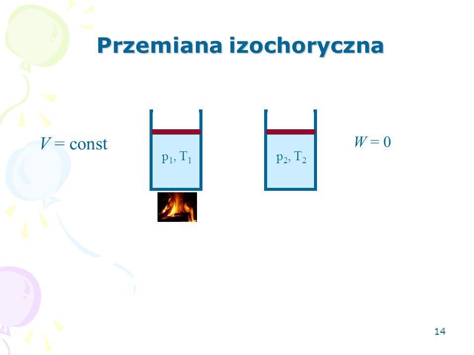 14 Przemiana izochoryczna V = const W = 0 p 1, T 1 p 2, T 2