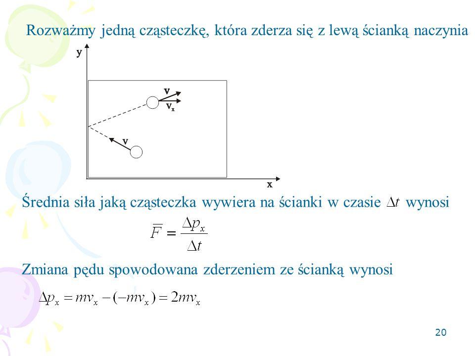 20 Rozważmy jedną cząsteczkę, która zderza się z lewą ścianką naczynia Średnia siła jaką cząsteczka wywiera na ścianki w czasie wynosi Zmiana pędu spo