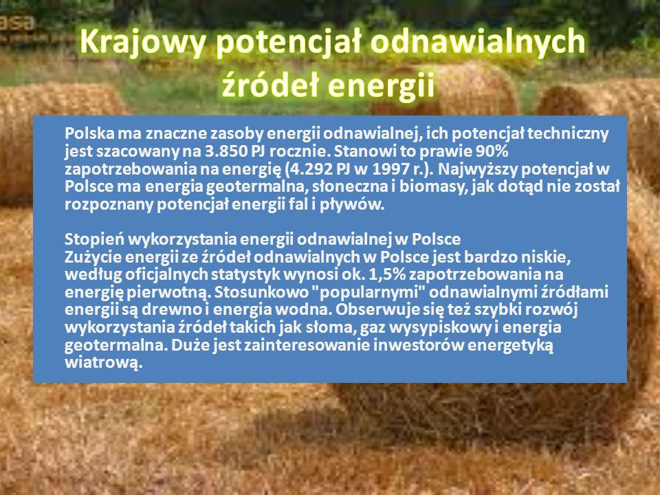 Polska ma znaczne zasoby energii odnawialnej, ich potencjał techniczny jest szacowany na 3.850 PJ rocznie. Stanowi to prawie 90% zapotrzebowania na en