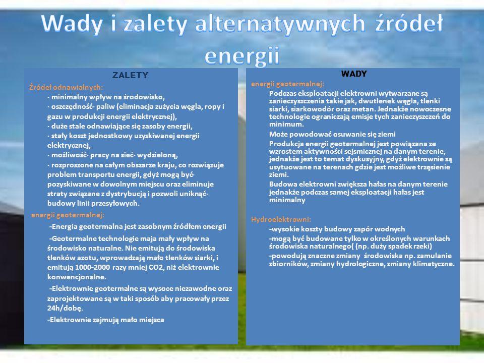 ZALETY Źródeł odnawialnych: · minimalny wpływ na środowisko, · oszczędność· paliw (eliminacja zużycia węgla, ropy i gazu w produkcji energii elektrycz