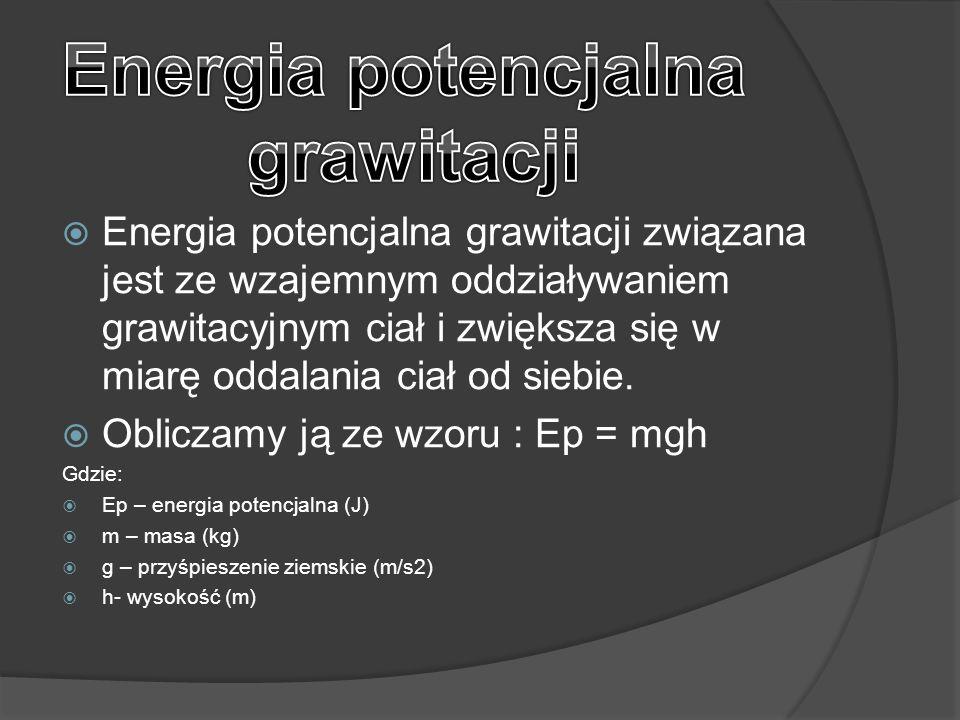  Energia potencjalna grawitacji związana jest ze wzajemnym oddziaływaniem grawitacyjnym ciał i zwiększa się w miarę oddalania ciał od siebie.  Oblic