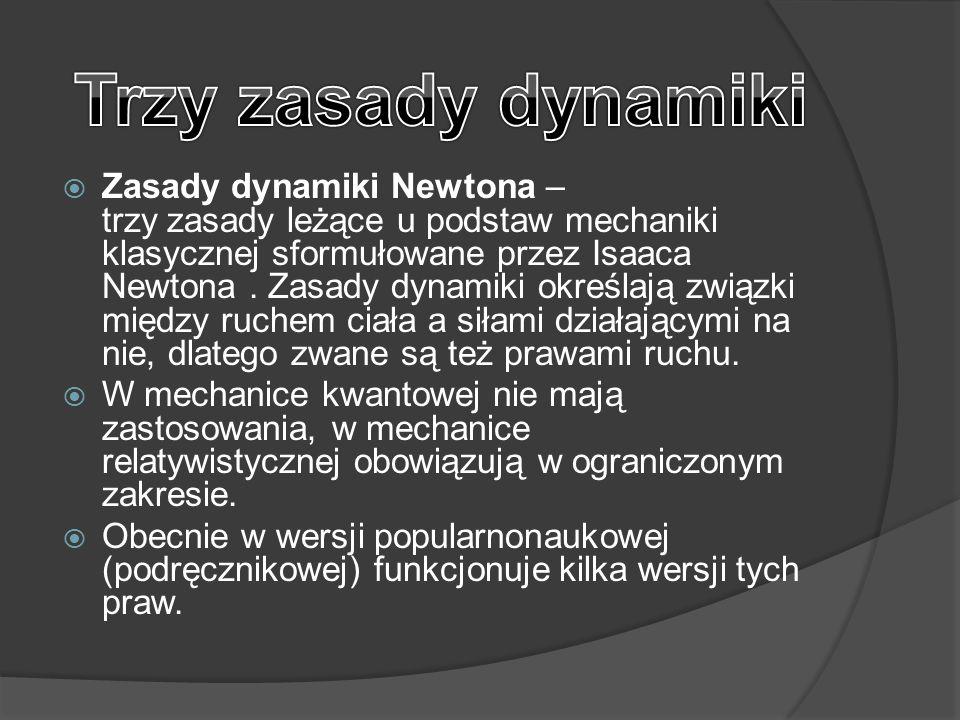  Zasady dynamiki Newtona – trzy zasady leżące u podstaw mechaniki klasycznej sformułowane przez Isaaca Newtona. Zasady dynamiki określają związki mię