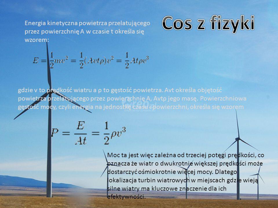 Energia kinetyczna powietrza przelatującego przez powierzchnię A w czasie t określa się wzorem: gdzie v to prędkość wiatru a ρ to gęstość powietrza. A