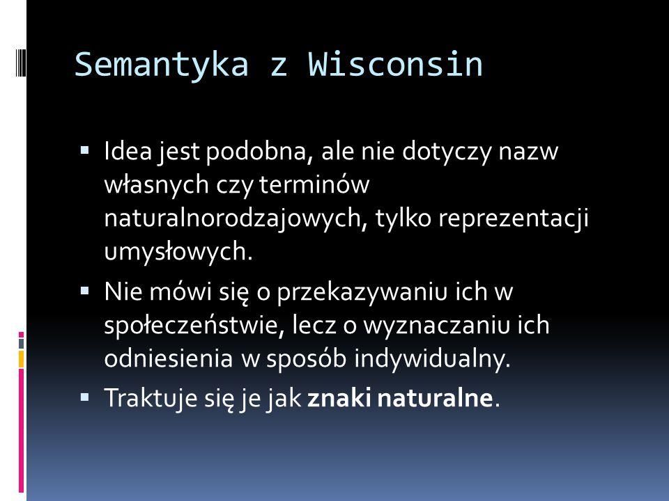 Semantyka z Wisconsin  Idea jest podobna, ale nie dotyczy nazw własnych czy terminów naturalnorodzajowych, tylko reprezentacji umysłowych.  Nie mówi