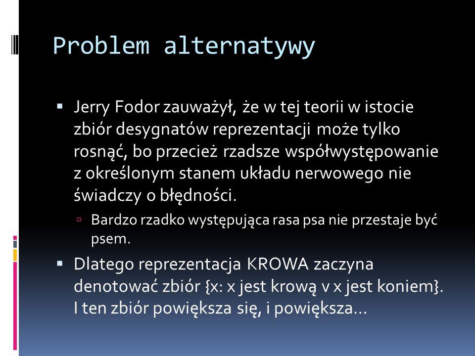 Problem alternatywy  Jerry Fodor zauważył, że w tej teorii w istocie zbiór desygnatów reprezentacji może tylko rosnąć, bo przecież rzadsze współwystę