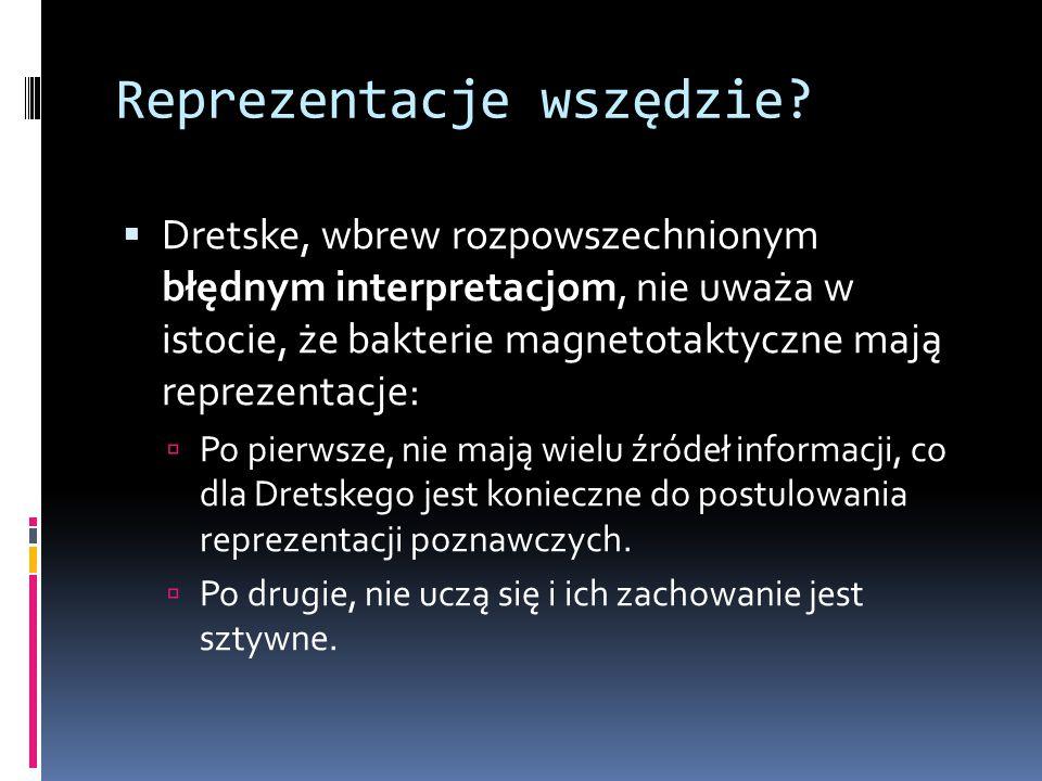 Reprezentacje wszędzie?  Dretske, wbrew rozpowszechnionym błędnym interpretacjom, nie uważa w istocie, że bakterie magnetotaktyczne mają reprezentacj
